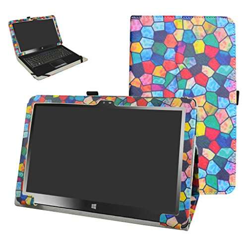 Insignia 11.6 NS-P11W7100 / NS-P11A8100 Case,Mama Mouth PU Leather Folio Stand Cover for 11.6 Insignia 11.6 NS-P11W7100 / NS-P11A8100 11.6 Inch Windows 10 Tablet PC,Stained Glass