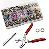200 Sets 9.5mm Metal Ring Button Press Studs Sewing Craft Fastener Snap Pliers Craft Tool