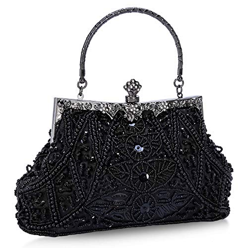 Clocolor Evening Bag and Clutches for Women Beaded Sequin Wedding Purse Party Bridal Handbag(Black)