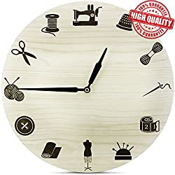 SEWING Non-Ticking Wooden Wall Clock