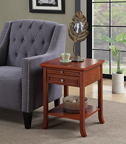 Cherry Oak Bedroom Set - Convenience Concepts American Heritage Logan End Table with Drawer and Slide, Cherry