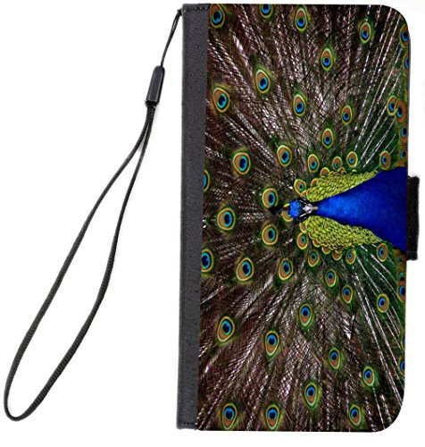 Rikki Knight Premium PU Wallet Flip Case with Kickstand and Magnetic Flap for iPhone 7 Plus - Peacock with Open Feathers Design from Rikki Knight