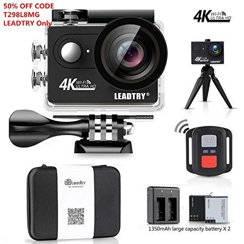 LeadTry HP7R Plus Sport Action Camera Wifi, Full 4K 12MP HD Mini Cam, 100Ft Underwater Waterproof Video Camcorders, 170° Wide Angle Lens Recording DV with 2 Batteries (1350mAh) Support Live Streaming LEADTRY