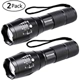 LED Tactical Flashlight, Binwo Super Bright 2000 Lumen XML T6 LED Flashlights Portable Outdoor Water Resistant Torch Light Zoomable Flashlight with 5 Light Modes, 2 Pack