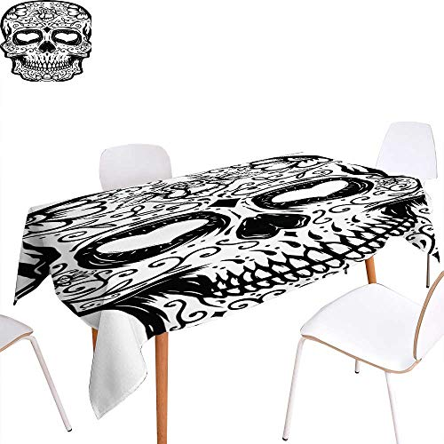 longbuyer Circular Table Cover Hand Drawn Sugar Skull Isolated on White Background Day of The Dead Design Element for Poster t-Shirt Vector Illustration Rectangle/Oblong W 60