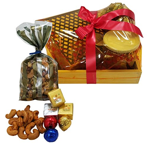 Sukhadia's Indian Gifts- Holiday Basket Filled with Chocolates, Premium Bites, and Masala Nuts
