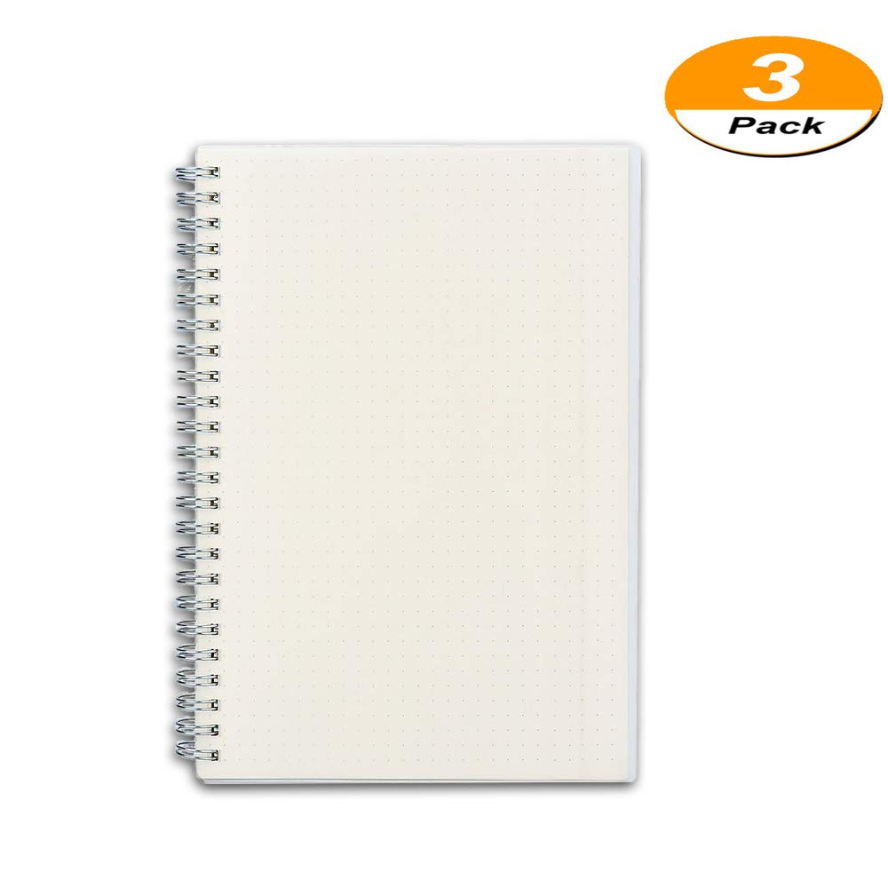 3 Pack A5 Notebook Office Notebooks Spiral Notebook with Plastic Hardcover, Dot Grid, 8.46 by 5.9 Inches, 80 Sheets