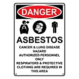 Weatherproof Plastic Vertical OSHA DANGER Asbestos Cancer & Lung Sign with English Text and Symbol