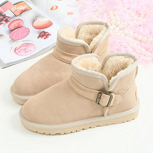 Eastlion Women's Thick Sole Warm Fur Lined Winter Anti-Skid Flat Classic Boots Short Boots Shoes Black ZjhfO0