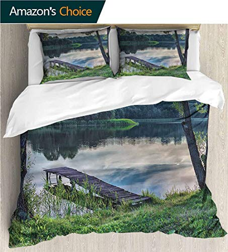 carmaxs-home Kids Quilt 3 Piece Bedding Set,Box Stitched,Soft,Breathable,Hypoallergenic,Fade Resistant Bedding Sets,1 Duvet Cover,2 Pillowcase-Nature Lake Old Wooden Pier Forest (87