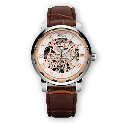 ESS Mens Watch Mechanical Brown Leather Strap Silver Case Skeleton Analog Luxury