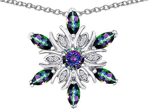 Star K Rainbow Mystic Quartz Snowflake Pendant Necklace Sterling Silver