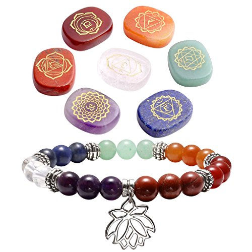 Top Plaza 7 Chakra Reiki Healing Crystals Yoga Balance Holistic Health Care Engraved Chakra Symbols Palm Stones W/7 Chakra Healing Crystal Bracelet(Style 5)