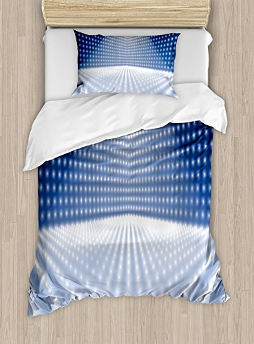 Ambesonne Disco Twin Size Duvet Cover Set, Vibrant Dotted Stage Image Movie Theater Concert Performance Dance and Music, Decorative 2 Piece Bedding Set with 1 Pillow Sham, Navy Blue White by Ambesonne