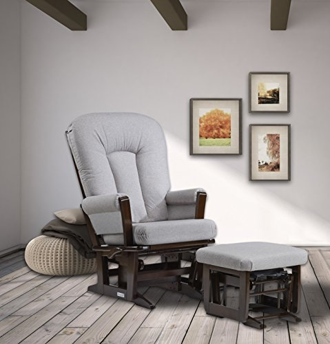 Dutailier Modern Glider-Multiposition, Coffee/Pebble Grey, Recline and Nursing Ottoman Set