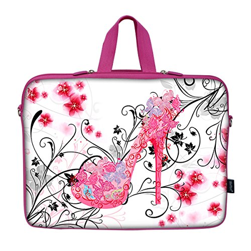 Meffort Inc 15 15.6 Inch Pink Color Matching Neoprene Laptop Carrying Case Sleeve Bag w. Hidden Handle & Eyelet (D-Ring) - High Heel