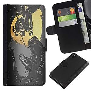 A-type (Reaper Heavy Metal Rock) Colorida Impresión Funda Cuero Monedero Caja Bolsa Cubierta Caja Piel Card Slots Para Sony Xperia Z3 D6603