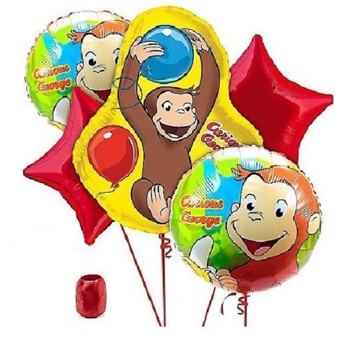 LoonBalloon CURIOUS GEORGE Monkey Jungle 5 Birthday Party Figure Ribbon Mylar Balloons ()