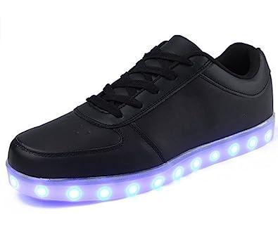 (Present:kleines Handtuch)Schwarz EU 37, für Damen Sportschuhe Schuhe Aufladen JUNGLEST® High Sport USB Top Turnschuhe Leuchtend Herren mode 7 Kinder LED