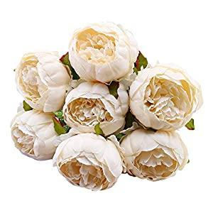 Artificial Flowers for Decoration - Veepola 1 Bouquet Fake Flowers Vintage Artificial Peony Silk Flowers Bouquet of Flowers for Wedding Bridal Bouquet Home Decor 1