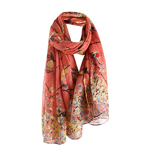 Christmas Long Scarf,Han Shi Women Deer Printing Soft Wrap Shawl Stole Pashmina Blanket (Red, L)