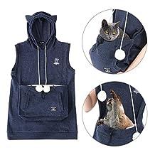 UNIHABITAT Mewgaroo Pet Holder Hoodie - Cat Eared Pouch Sweatshirt summer version navy M size