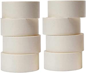 2 Inch White Masking Tape Bulk General Purpose No Residue Easy Tear Removable Painters Tape Crepe Paper Rolls 60 Yard for Painting, Labeling, Home, Office, School Stationery, Arts and Crafts (8Rolls)