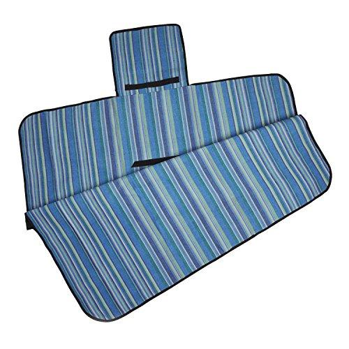 Bright Blue Cotton Nylon Blanket 'Sky Stripe Picnic Blanket'