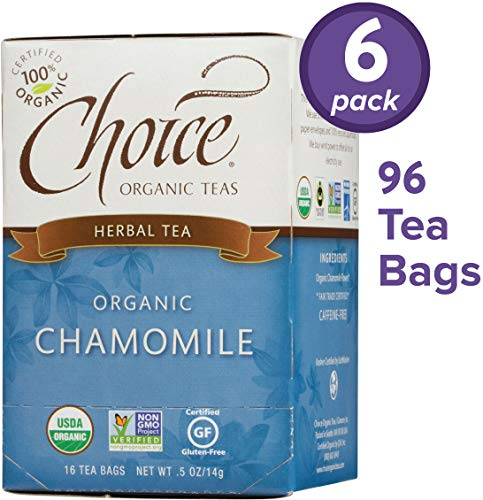 Choice Organic Teas Herbal Tea, 6 Boxes of 16 (96 Tea Bags), Chamomile, Caffeine Free