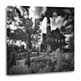 TORASS Canvas Wall Art Print Victorian Fairlawn Mansion Haunted Ghost Spook Paranormal Artwork for Home Decor 20'' x 20''