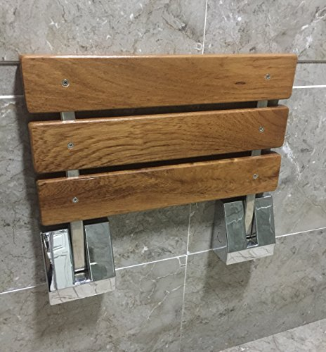 "DIYHD SD 15"" TEAK WOOD Floding Seat Wall Mount Shower Bench"