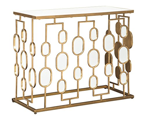 Ashley Furniture Signature Design - Majaci Console Table - Contemporary - Antique Gold Metal - Mirrored Glasstop and Accents (Foyer Metal Table)