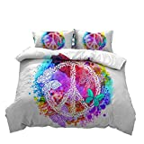 Hippie Psychedelic Butterfly Duvet Cover Peace Sign Bedding Sets, 3D Art Printing on White Backdrop Ornamental Boys Girls Gifts, 1 Duvet Cover with 2PCS Pillow Shams No Comforter (Super King(260x220cm,3pcs)