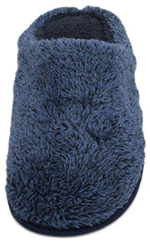 SlumberzzZ Mens Coral Fleece Open Back Mule Slipper Blue GLzck