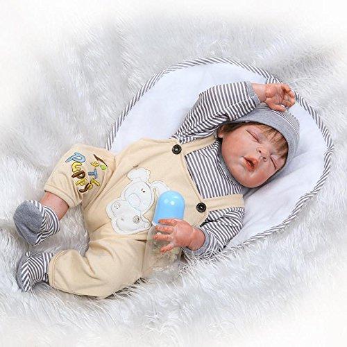 icradle 23インチ57 cmフルボディソフトシリコンビニールSleeping Handmade Realistic Looking Lovely Cute Reborn Baby Boy Doll Weighted新生児Dolls解剖学的に正しいKids Best Present for Xmas   B07BS6B3C2