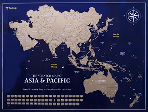 Map Of Asia Un.Asia Travel Scratch Off Map Poster Original Exclusive Travel Tracker With Amazing Sights And Landmarks Outlined Regions Vibrant Colors And All