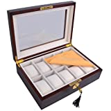 Elegent 10 Watch Organizer Display Case Walnut Wood Jewelry Box Storage Gift