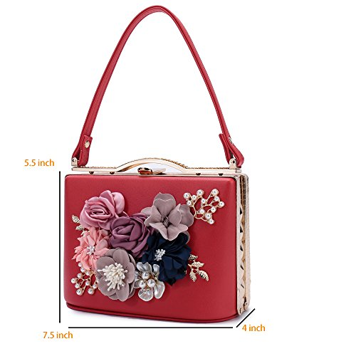 Bags Handbag Evening Red8803 Clutch Evening Pearl Wedding Satin Prom Flower Women's For Beaded Bride 8Z4Hx