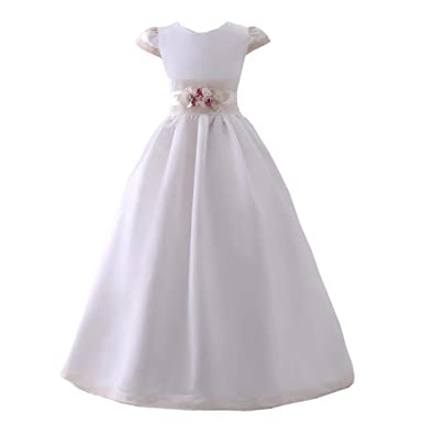 Angel Dress Shop White Champagne Kids First Communion Dress Cap Sleeves Ball Gown with Belt Flower