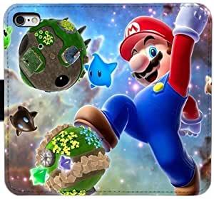 Generic Custom Flip Wallet Case,super mario galaxy games platform game space Leather Case for iPhone 6 6S 4.7 inch Black S-45123930