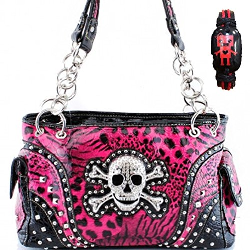 Concealed Carry Skull and Crossbones Western Handbag Animal Print Rhinestone Purse With Robot Bracelet (Skull Purse)