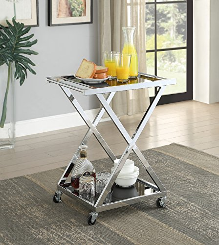 Chrome Finish Metal Black Tempered Glass X-Design Bar Serving Cart with Wheels