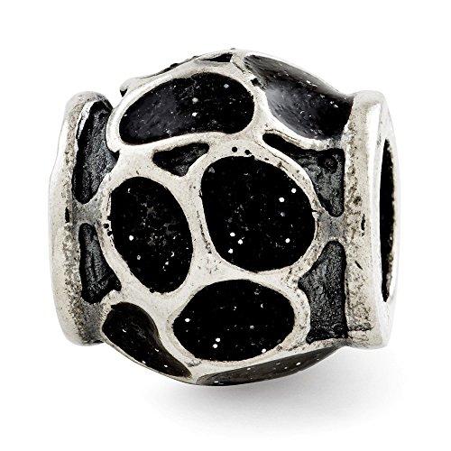 925 Sterling Silver Charm For Bracelet Black Enamel Sparkles Bead Bali Fine Jewelry Gifts For Women For Her]()