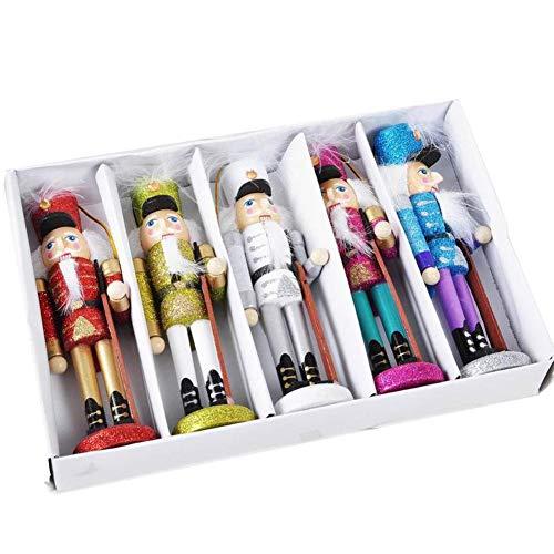 U-smile Nutcracker Figures, Wooden Handmade Nutcracker Soldiers Set with Lanyard for Home Office Shop Decoration, 5 PCs, 15 cm