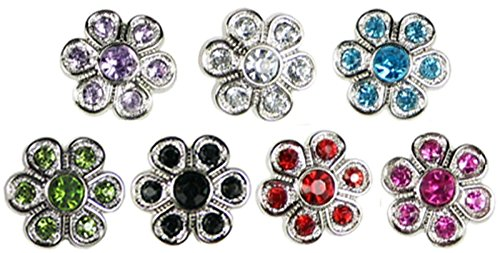 HipGirl Assorted Buttons--Fabric Covered Buttons, Wood Printed Buttons or Rhinestone Buttons (28pc (7x4pc) 14mm, Acrylic Rhinestone Buttons with Shank, Color May Vary) (Fabric Covered Shank Button)