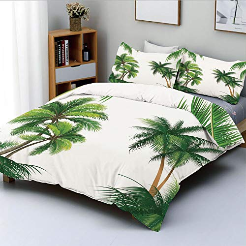 Duplex Print Duvet Cover Set King Size,Coconut Palm Tree Nature Paradise Plants Foliage Leaves Digital IllustrationDecorative 3 Piece Bedding Set with 2 Pillow Sham,Hunter Green,Best Gift For Kids & A