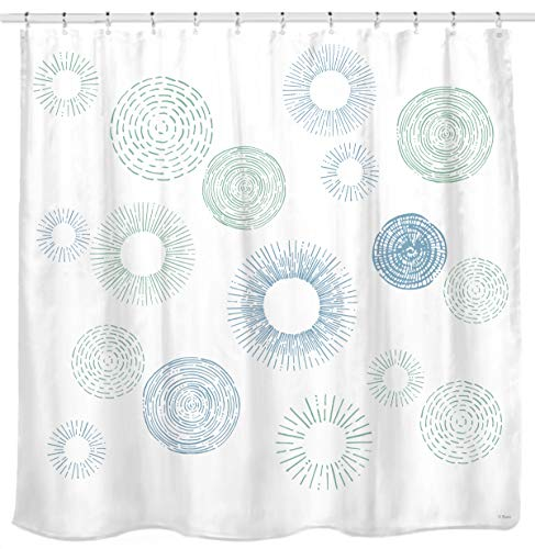 Sunlit Design Water Repellent Fabric Shower Curtain with Rings Light Blue Green Fireworks and Tree Rings Modern Neat Printed Curtain White (Blue Shower Curtain Green White)