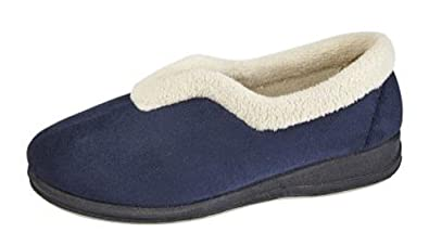 WOMENS REAL SUEDE FUR LINED MULES SLIPPERS MOCCASINS NAVY  SIZES 3 to 8