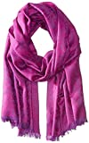 BADGLEY MISCHKA Women's Abstract Wool Floral Wrap, Magenta, One Size