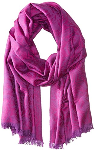 BADGLEY MISCHKA Women's Abstract Wool Floral Wrap, Magenta, One Size by Badgley Mischka
